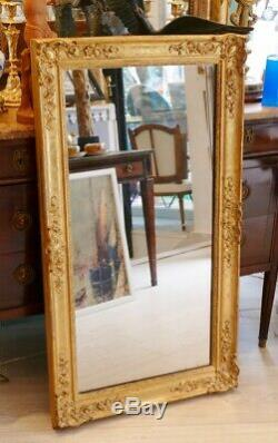 Miroir En Bois Et Stuc Doré, époque Restauration, Glace Au Mercure, Début XIX èm