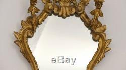 Miroir Italien En Bois Sculpté Et Doré, époque Fin XIX ème