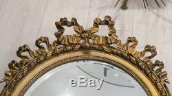 Miroir Louis XVI Ovale Au Noeud En Bois Et Stuc Doré, époque Fin XIX ème
