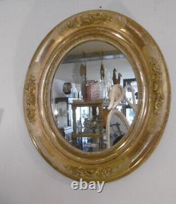 Miroir Ovale En Bois Dore Napoleon III Decor De Roses Sculptees Epoque Xixeme