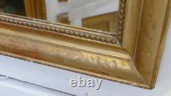 Miroir Rectangulaire Bois Doré Gravé, époque Restauration, XIX ème