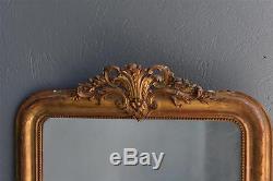 Miroir en stuc doré à la feuille d'époque Louis Philippe XIXème
