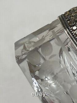 Mouille-Timbres en Argent Massif & Cristal Rouleau en Verre Sablé Époque XIX ème