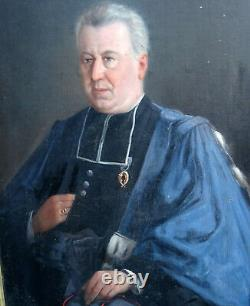 Noiré Portrait d'homme Epoque fin XIXème siècle HST ecclésisastique palmes acadé