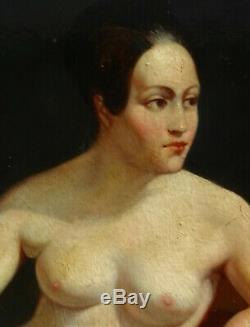 Nu Portrait de Femme Huile sur Panneau Epoque Louis Philippe XIXème siècle