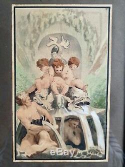 PAIRE DE GOUACHES ÉPOQUE XIXème SATYRE ET BACCHANTES / ENFANTS ET DAUPHINS