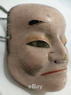 PETIT MASQUE DE THÉATRE NÔ JAPONAIS ÉPOQUE XIXème SCULPTÉ PEINT EDO OLD N°1