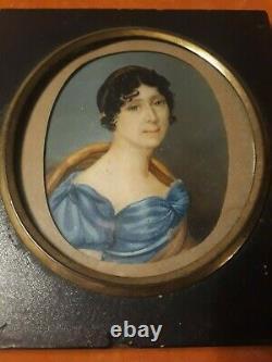 PORTRAIT MIGNATURE DE FEMME GRNADE TAILLE EPOQUE EMPIRE DEBUT XIXème