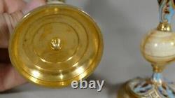 Paire De Bougeoirs Napoléon III En Bronze Cloisonné Et Onyx, époque XIX ème