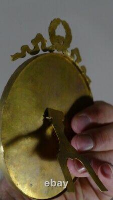 Paire De Cadres Ovales Louis XVI En Bronze Et Laiton Doré, époque Fin XIX ème