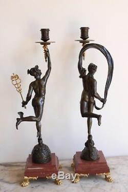 Paire De Candelabre En Bronze époque XIXème