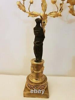 Paire De Candelabres Époque Empire Bronze Doré Début Xixeme