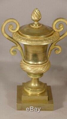 Paire De Cassolettes Empire En Bronze Doré, Forme Médicis, époque Début XIX ème
