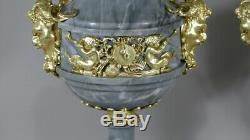 Paire De Cassolettes Louis XVI En Marbre Turquin Et Bronze Doré, époque XIX ème