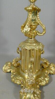 Paire De Chandeliers, Candélabres En Bronze Doré époque Restauration, XIX ème Si