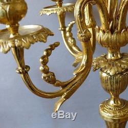 Paire De Chandeliers Candélabres Louis XVI En Bronze Doré, époque XIX ème