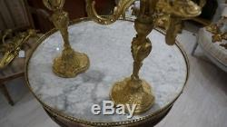 Paire De Chandeliers De Style Louis XV Rocaille En Bronze, époque XIX ème