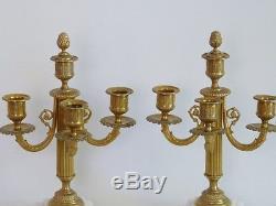 Paire De Chandeliers Louis XVI, Bronze Et Marbre Blanc, époque XIX ème