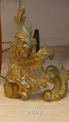Paire De Chenets Louis XV Rocaille En Bronze Doré, époque XIX ème