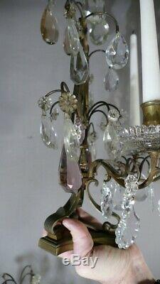 Paire De Girandoles à Bougies En Bronze Et Pampilles De Cristal, époque XIX ème