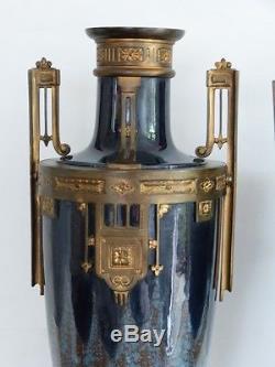 Paire De Grandes Cassolettes En Céramique Et Bronze Doré, époque Fin XIX ème