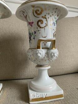 Paire De Grands Vases Époque Empire / Restauration XIX Eme Vieux Paris