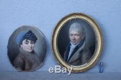 Paire De Pastels Epoque XIXème