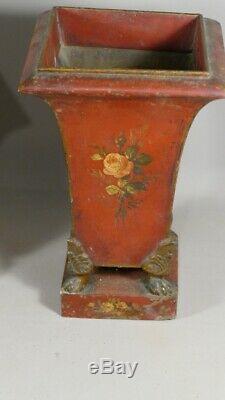 Paire De Vases Jardinières En Tôle Peinte De Fleurs, époque Empire, Début XIX èm