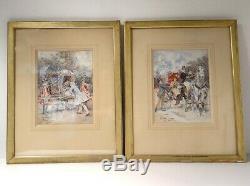 Paire aquarelles personnages élégants calèches Belle Epoque Izard XIXème