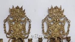 Paire d'Appliques En Bronze, Style Louis XIV, Attributs Royaux, époque XIX ème
