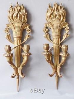 Paire d'Appliques Louis XVI En Bois Sculpté Doré, Au Flambeaux, époque XIX ème