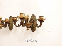 Paire d'Appliques Restauration En Bronze à Double Patine, époque XIX ème