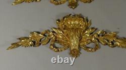 Paire d'Ornements, Frontons Style Louis XVI En Bronze Doré, époque XIX ème
