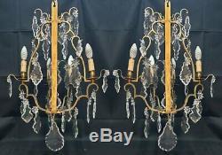 Paire dappliques Louis XV trois bras Pampilles Bronze & Cristal d'époque XIXeme