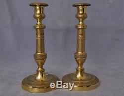 Paire de Flambeaux Bronze Doré Bougeoirs Candlesticks Epoque 1er Empire XIXème
