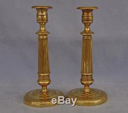 Paire de Flambeaux en Bronze Doré Epoque Empire début XIXème Siècle