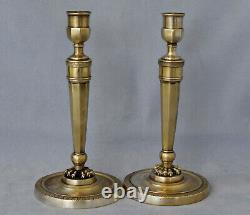 Paire de Flambeaux en Bronze d' Epoque Empire Début XIXème Siècle