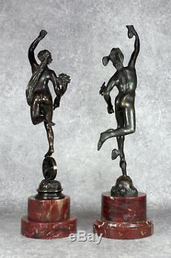 Paire de Statuettes en Bronze Fortune et Mercure Sculptures Époque XIXème
