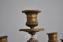 Paire de chandeliers bronze doré époque XIXème