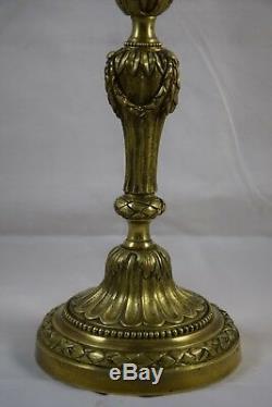 Paire de grands candélabres en bronze doré, 5 feux, époque fin XIXème