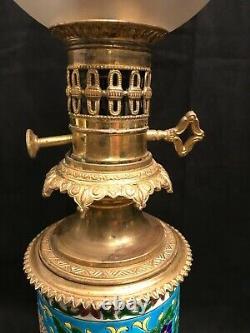 Paire de lampes à huile Longwy époque XIXème siècle