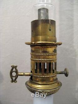 Paire de lampes à pétrole en porcelaine et bronze époque XIX ème siècle
