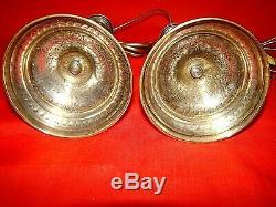 Paire de lampes de chevet réalisées avec bougeoirs laiton massif époque XIX ème