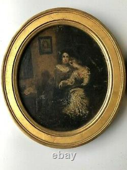 Paire de peinture romantique sur carton époque XIXéme H 18.5 cm