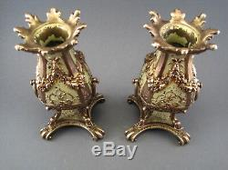 Paire de petits vases garniture en bronze doré époque Restauration début XIX ème