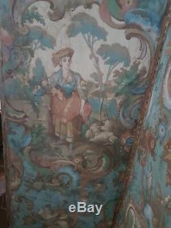 Paravent 4 feuilles en papier peint, époque fin XVIIIème, début XIXème