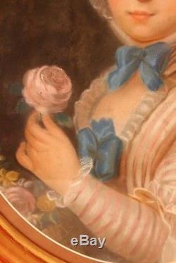 Pastel époque XIX ème siècle jeune fille à la rose