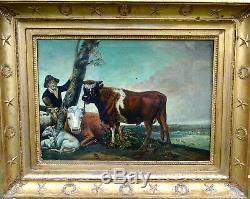 Paysage Le Taureau d'après Paulus Potter Epoque Ier Empire HST XIXème siècle