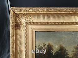 Peinture Ancienne, paysage, cadre doré, époque XIX ème s