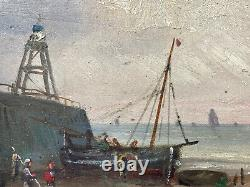 Peinture Huile sur Panneau Marine Bord de Mer Bateaux Personnages Époque XIX ème